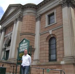 Andrew Corbett outside the church in Hobart where Boreham pastored